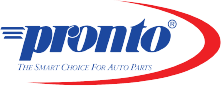 Pronto logo of the word Pronto in blue and a red swoop on the right side of the logo.